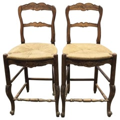 Pair of Provincial Carved Wooden Bar Stools with Rushed Seats