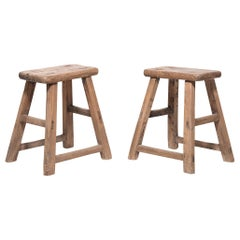 Pair of Provincial Chinese Courtyard Stools, circa 1900