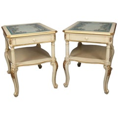 Pair of Provincial Style Carved Gilt and Paint Decorated End Stands 20th Century