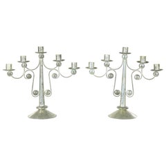 Pair of Punched Tin Candelabra from Mexico in the Style of William Spratling