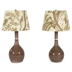 Pair of Purple and White Glazed Ceramic Lamps