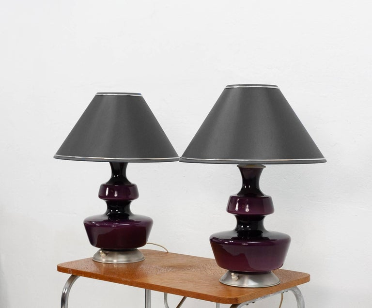 Mid-Century Modern Pair of Purple Holmegaard Table Lamps, 1960s For Sale