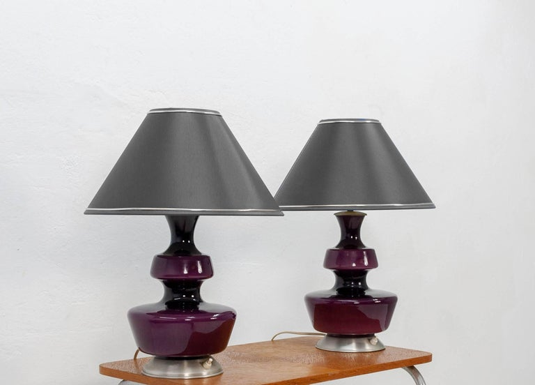 Danish Pair of Purple Holmegaard Table Lamps, 1960s For Sale