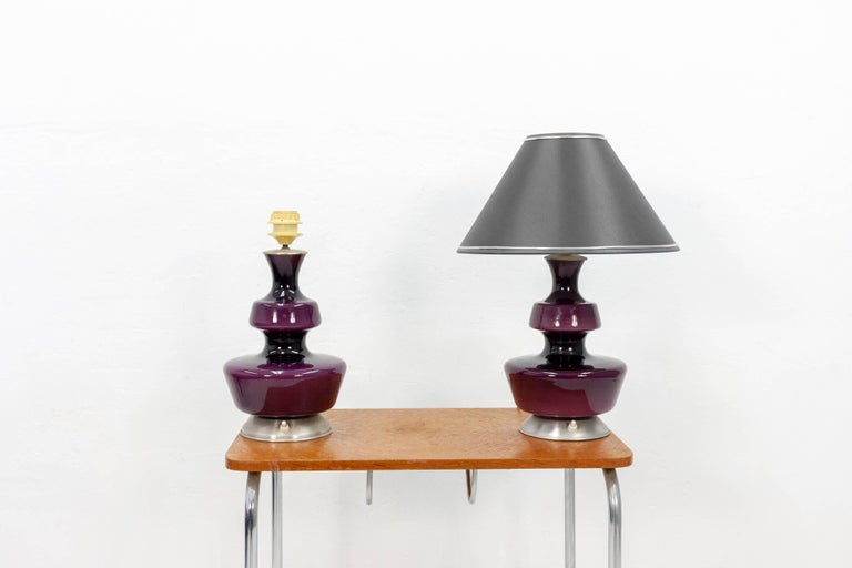 Pair of Purple Holmegaard Table Lamps, 1960s In Good Condition For Sale In Den Haag, NL