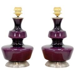Pair of Purple Holmegaard Table Lamps, 1960s
