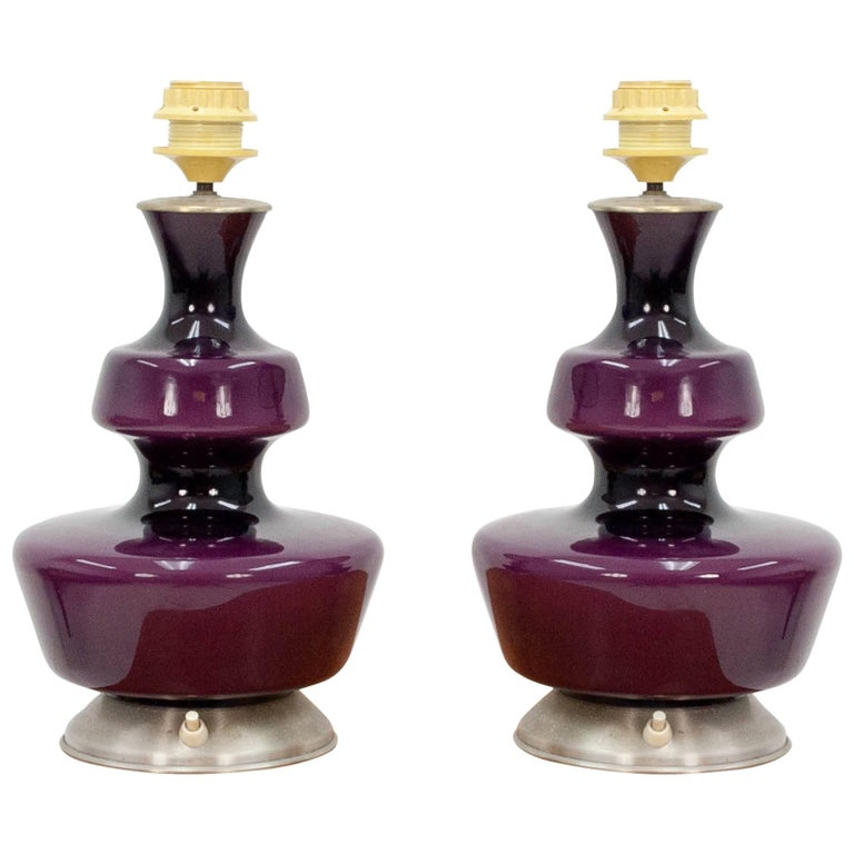 Pair of Purple Holmegaard Table Lamps, 1960s For Sale