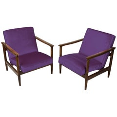 Pair of Purple Violet Armchairs, Edmund Homa, GFM-142, 1960s, Poland
