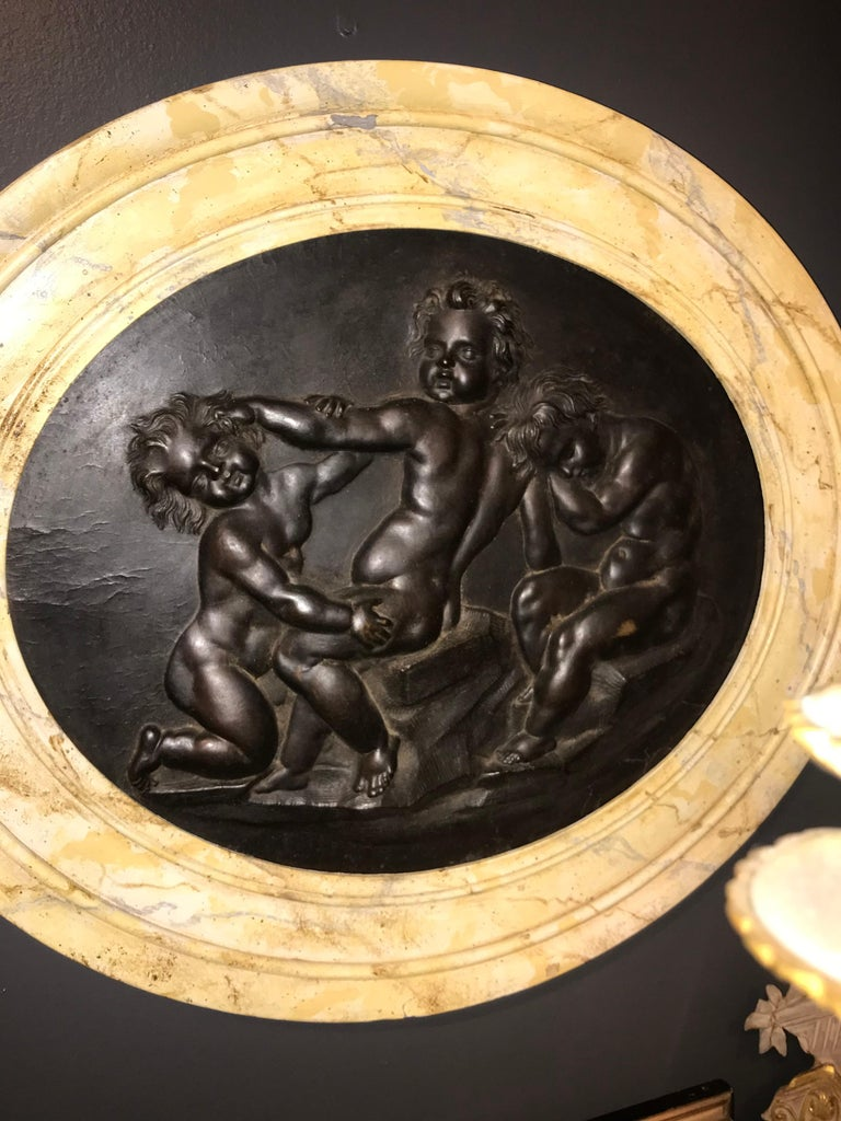 Large Pair of Putti or Cherub Wall Medallions or Plaques For Sale 3