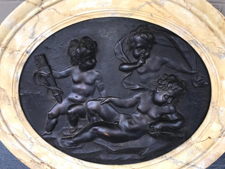 French Large Pair of Putti or Cherub Wall Medallions or Plaques For Sale