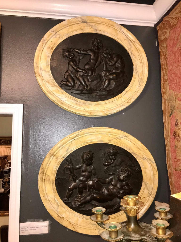 Large Pair of Putti or Cherub Wall Medallions or Plaques For Sale 2