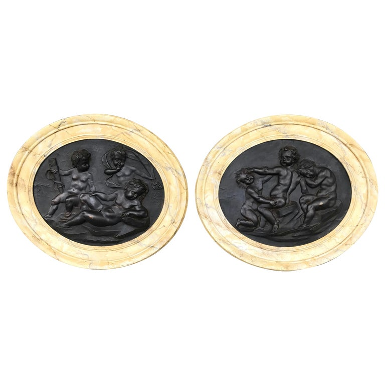 Large Pair of Putti or Cherub Wall Medallions or Plaques For Sale