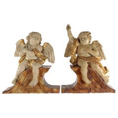 Pair of Putti, Southern Germany, Lime Wood, Carved, Stuccoed and Colored, Patina