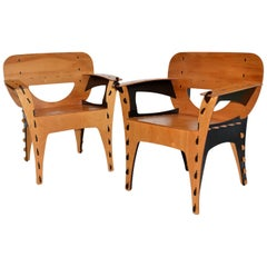 Pair of Plywood Puzzle Chairs by David Kawecki, 1990's