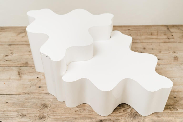 20th Century Pair of Puzzle tables by Les Simonnet, Resin and Fiberglass, 1960s For Sale
