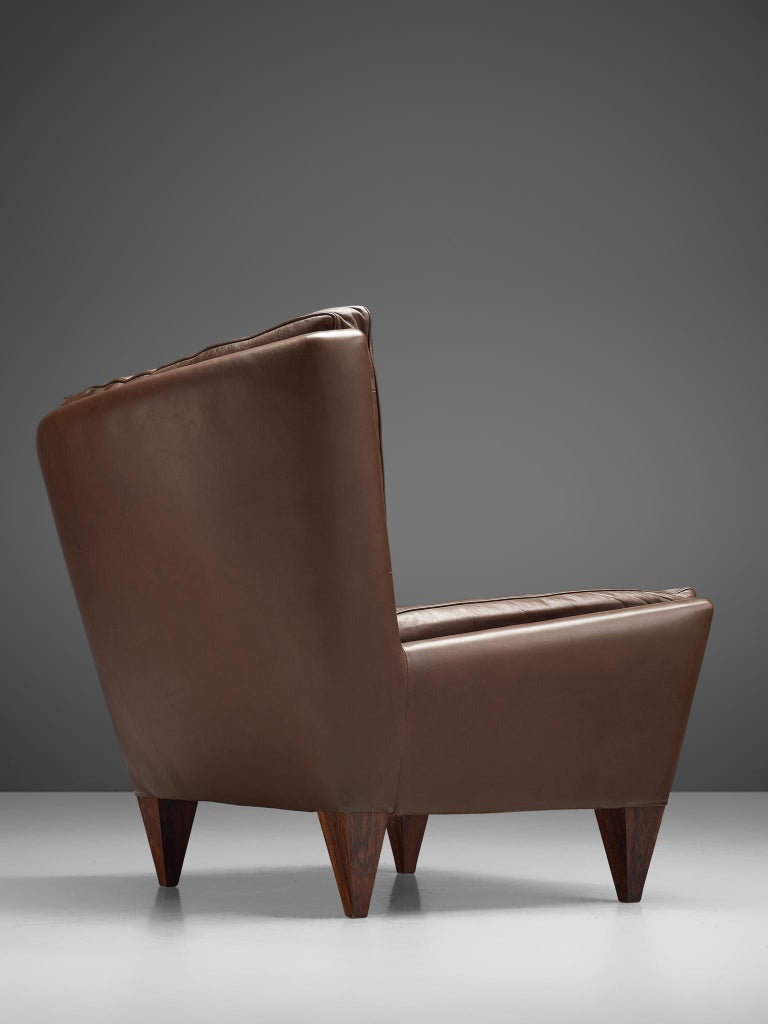 Mid-20th Century Pair of 'Pyramid' Chairs in Leather by Illum Wikkelsø For Sale