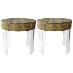 Pair of Python Covered Side Tables
