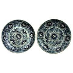 Pair of Qing Chrysanthemum Pattern Plates