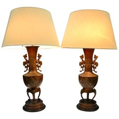 Pair of Qing Dynasty Archaic Chinese Bronze Vases Turned into Lamps