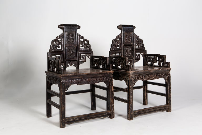 Pair of Qing Dynasty Armchairs In Good Condition For Sale In Chicago, IL
