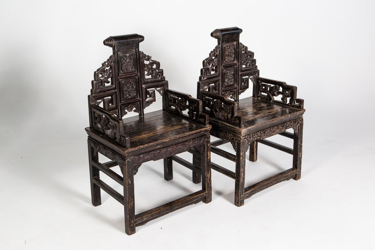 19th Century Pair of Qing Dynasty Armchairs For Sale