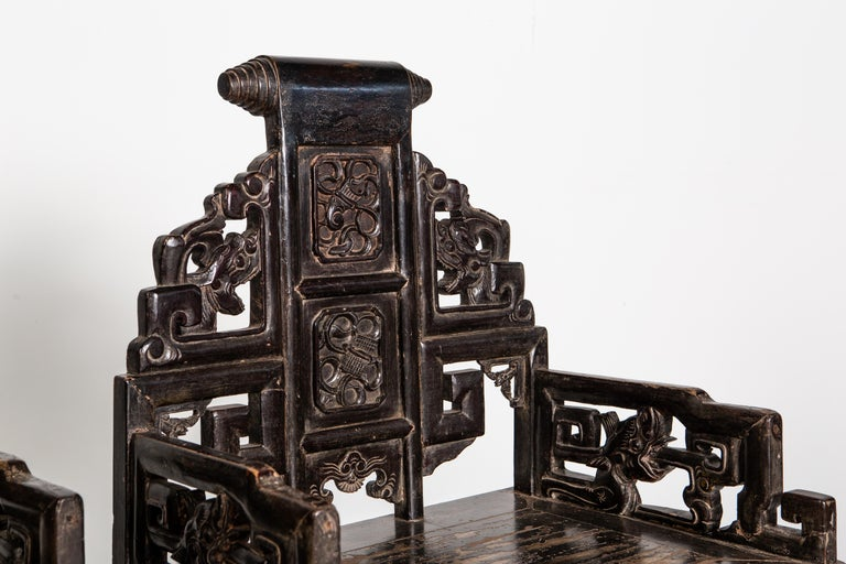 Wood Pair of Qing Dynasty Armchairs For Sale