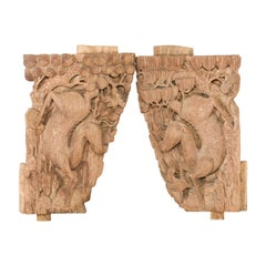 Pair of Qing Dynasty Hand-Carved Wooden Temple Corbels with Deer Motifs