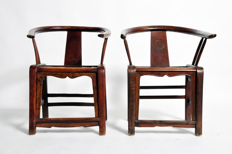 Pair of Qing Dynasty Horseshoe-Back Chairs In Good Condition For Sale In Chicago, IL