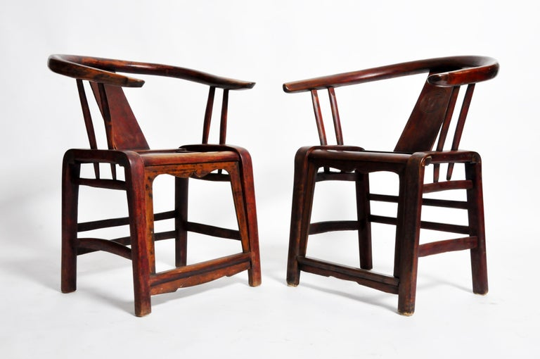19th Century Pair of Qing Dynasty Horseshoe-Back Chairs For Sale