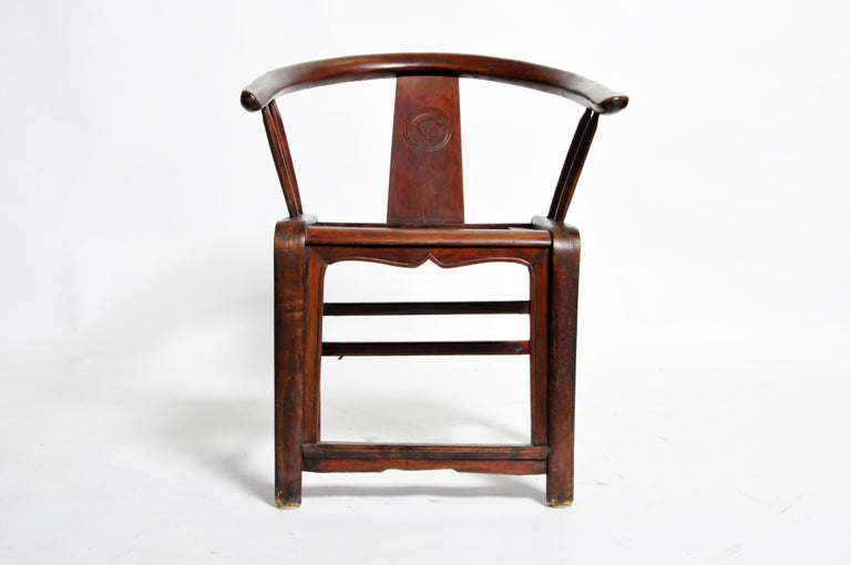 Cypress Pair of Qing Dynasty Horseshoe-Back Chairs For Sale