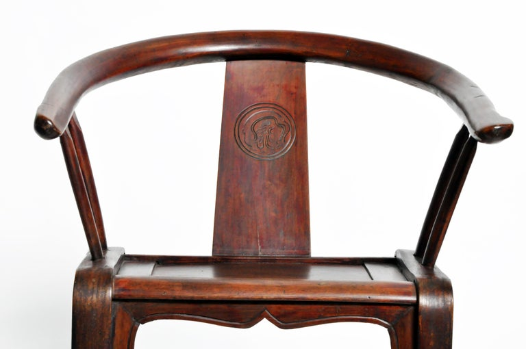 Pair of Qing Dynasty Horseshoe-Back Chairs For Sale 1