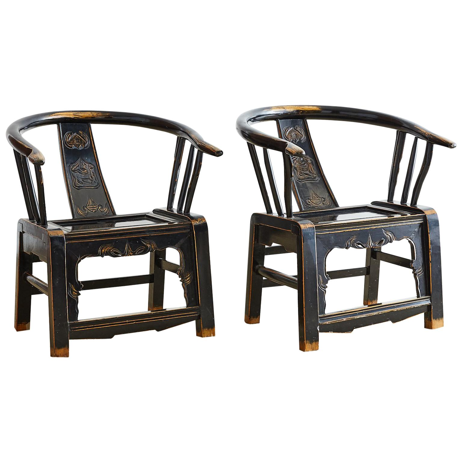 Pair of Qing Dynasty Lacquered Horseshoe Armchairs