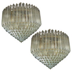 Pair of Quadriedri Murano Glass Chandeliers, 265 Prism, Murano