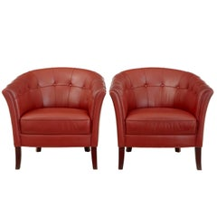 Pair of Quality 1970s Leather Lounge Armchairs
