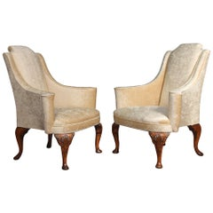 Pair of Queen Ann Style Wing Armchairs