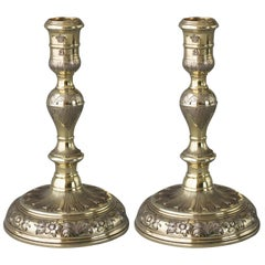 Pair of Queen Anne/George I Silver-Gilt Cast Candlesticks