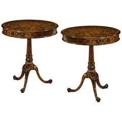 Pair of Queen Anne Oyster Veneer Drum Tables
