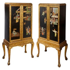 Pair of Queen Anne Style Chinoiserie Lacquer Cabinets on Stands