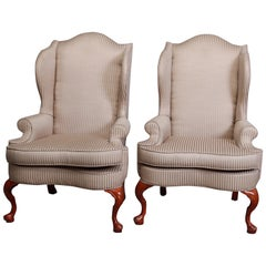 Pair of Queen Anne Style Fireside Wingback Chairs, Striped Upholstery