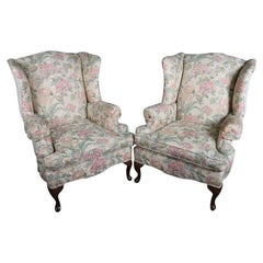 Pair of Queen Anne Style Floral Upholstered Wingback Chairs, 20th Century