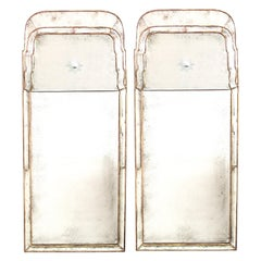 Pair of Queen Anne Style Giltwood Pier Mirrors with Mirrored Border and Sunburst