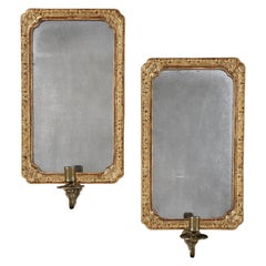 Pair of Queen Anne Style Giltwood Mirror Sconces