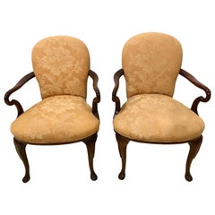 Pair of Queen Anne Style Open Armchairs or Bergeres