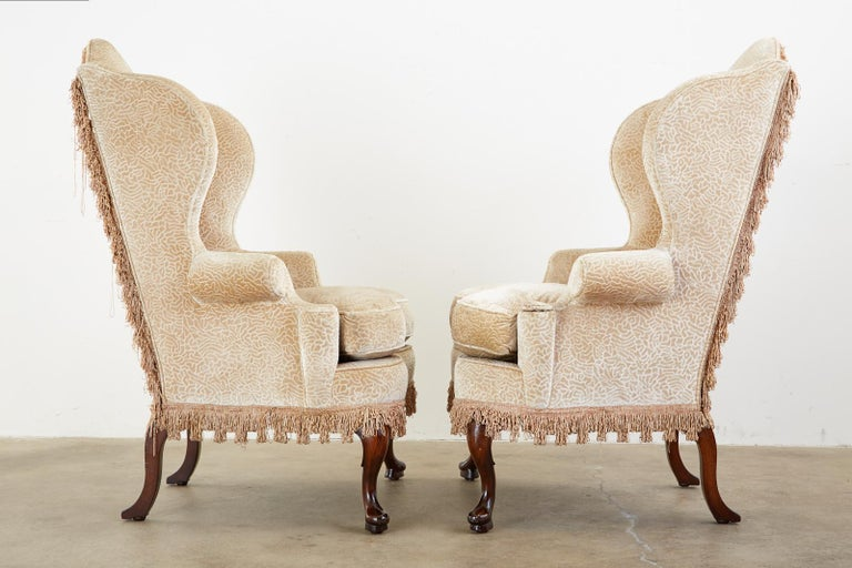 Pair of Queen Anne Style Wingback Chairs by Dunbar For Sale 3
