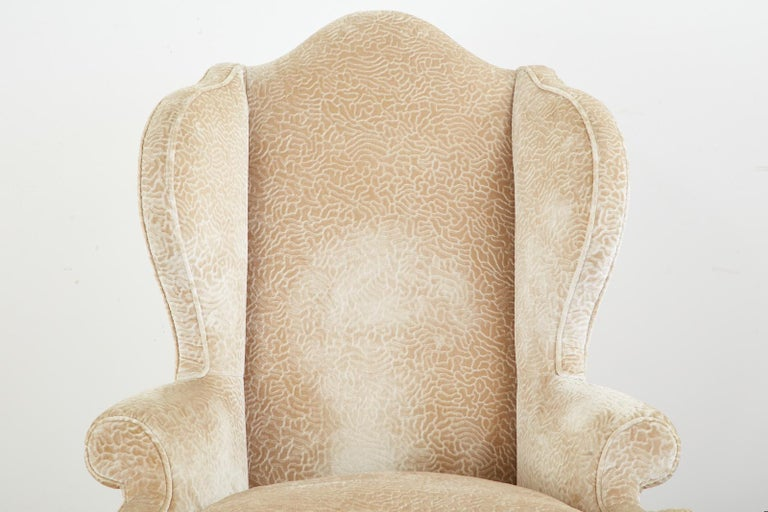 Pair of Queen Anne Style Wingback Chairs by Dunbar For Sale 6