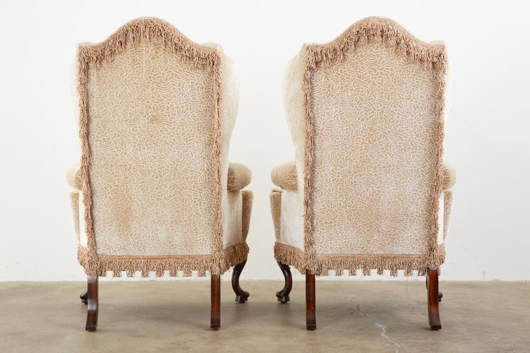 Pair of Queen Anne Style Wingback Chairs by Dunbar For Sale 13