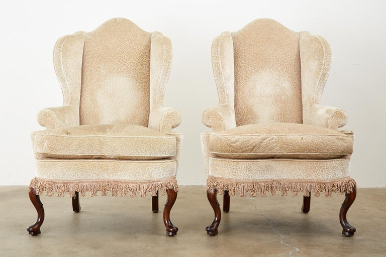 American Pair of Queen Anne Style Wingback Chairs by Dunbar For Sale