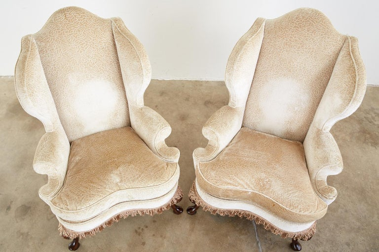 Hand-Crafted Pair of Queen Anne Style Wingback Chairs by Dunbar For Sale