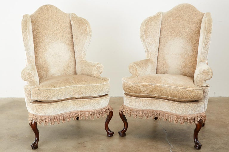 Pair of Queen Anne Style Wingback Chairs by Dunbar In Good Condition For Sale In Rio Vista, CA