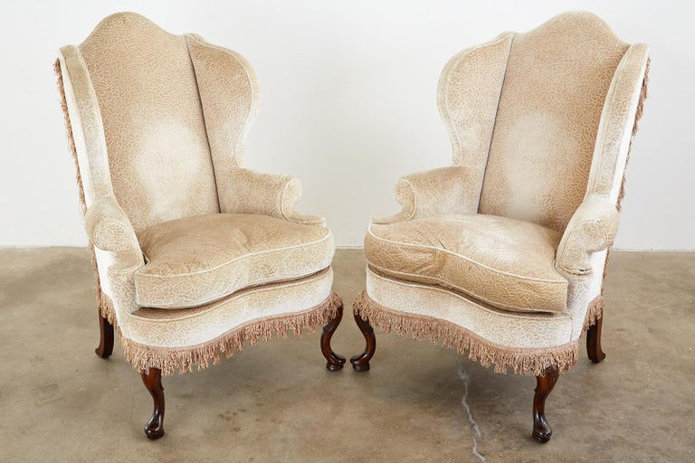 20th Century Pair of Queen Anne Style Wingback Chairs by Dunbar For Sale