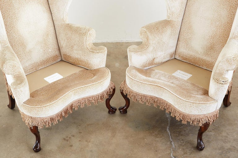Fabric Pair of Queen Anne Style Wingback Chairs by Dunbar For Sale